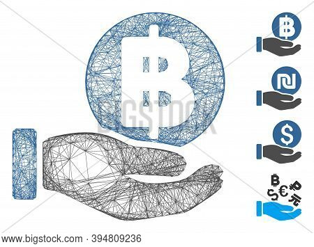 Vector Net Baht Coin Payment Hand. Geometric Hatched Frame 2d Net Generated With Baht Coin Payment H