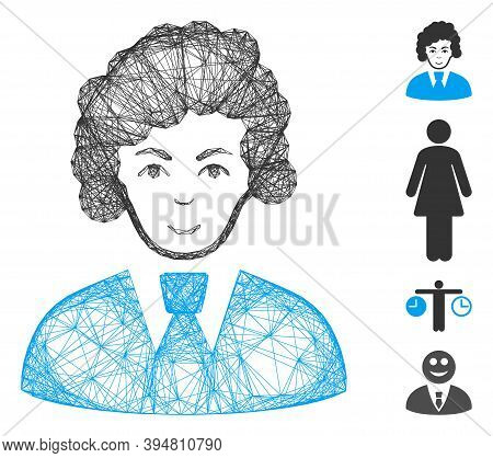 Vector Wire Frame Clerk Woman. Geometric Wire Frame 2d Net Based On Clerk Woman Icon, Designed With