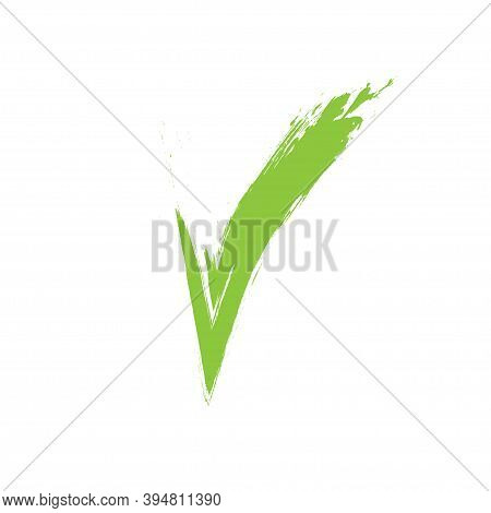 Checkmark Green Icon, Vector On White Background Isolated. Checkmark Or Confirm Circle Icon Button