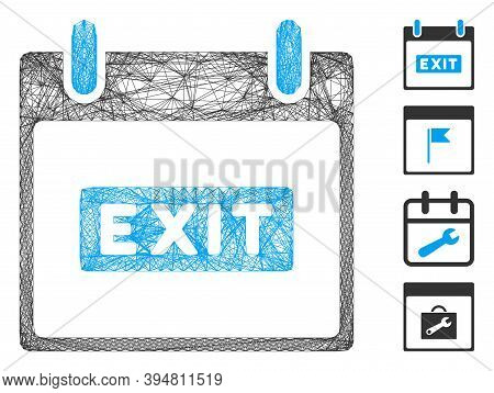 Vector Network Exit Caption Calendar Day. Geometric Wire Carcass Flat Network Made From Exit Caption