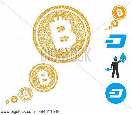 Vector Network Bitcoin Inflation. Geometric Linear Frame Flat Network Made From Bitcoin Inflation Ic