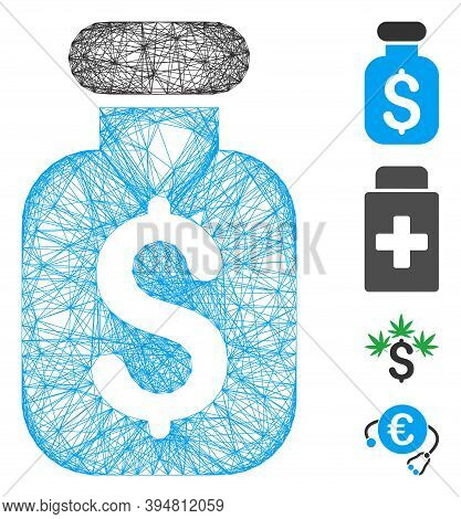 Vector Wire Frame Business Remedy. Geometric Wire Frame 2d Network Made From Business Remedy Icon, D
