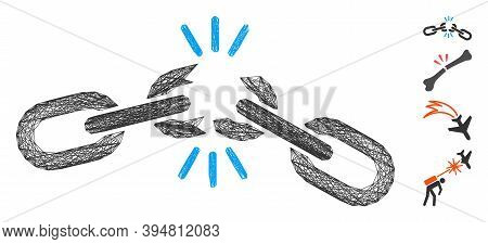 Vector Wire Frame Chain Damage. Geometric Hatched Frame Flat Network Made From Chain Damage Icon, De