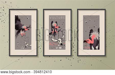 Frames Mockup Template. Vulture Bird African Animal Vector Illustration.  Evil Vultures Modern Graph