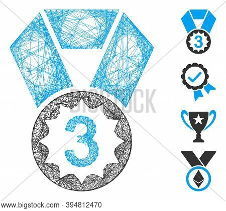 Vector Network Third Place. Geometric Linear Frame 2d Network Made From Third Place Icon, Designed F