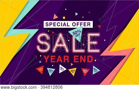 Year End Sale Banner - Vector Flat Design Illustration : Suitable For Business Theme, Shopping Theme