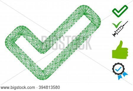 Vector Wire Frame Apply Tick. Geometric Wire Frame 2d Net Based On Apply Tick Icon, Designed With Cr