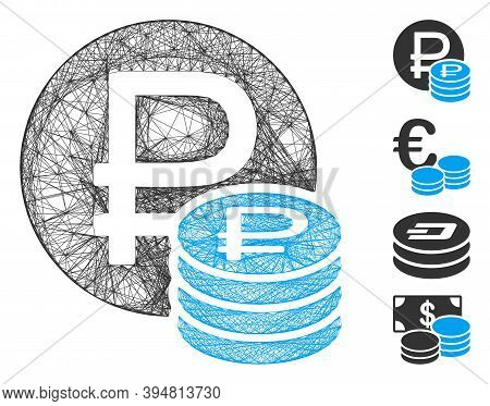 Vector Wire Frame Rouble Coins. Geometric Wire Frame Flat Network Based On Rouble Coins Icon, Design