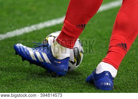 Kyiv, Ukraine - October 10, 2020: Goalkeeper Manuel Neuer Of Germany Kicks A Ball During The Uefa Na