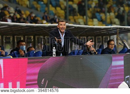 Kyiv, Ukraine - October 10, 2020: Ukrainian Manager Andriy Shevchenko In Action During The Uefa Nati