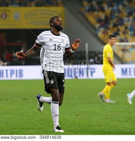 Kyiv, Ukraine - October 10, 2020: Defender Antonio Rudiger Of Germany Runs During The Uefa Nations L