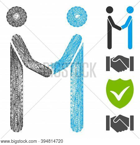 Vector Wire Frame Agreement. Geometric Wire Frame 2d Network Based On Agreement Icon, Designed With