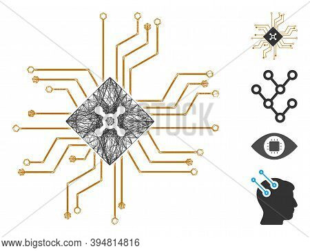 Vector Net Digital Roulette Circuit. Geometric Linear Carcass 2d Net Generated With Digital Roulette