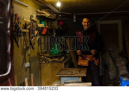 Handsome Joiner Work In Carpentry. He Is Successful Entrepreneur At His Workplace.