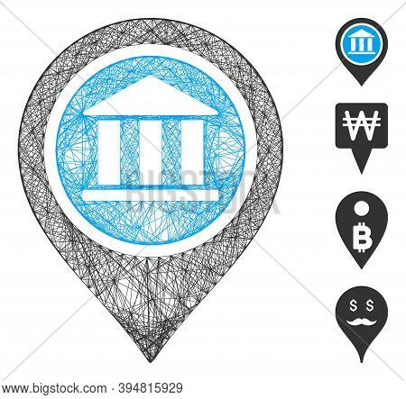 Vector Net Bank Map Pointer. Geometric Wire Frame Flat Net Based On Bank Map Pointer Icon, Designed