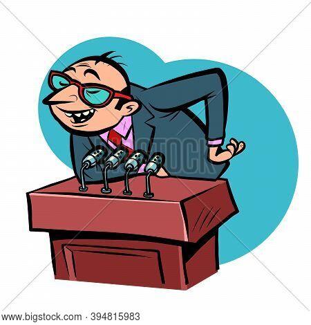 Tricky Speaker Man On The Podium Comics Illustration Drawing
