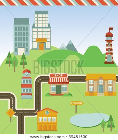 Vector Map With Houses, Road And Signs
