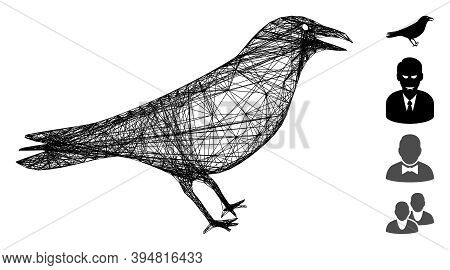 Vector Wire Frame Crow. Geometric Hatched Carcass Flat Net Generated With Crow Icon, Designed With C