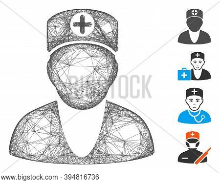 Vector Net Medic. Geometric Hatched Carcass 2d Net Made From Medic Icon, Designed From Intersected L