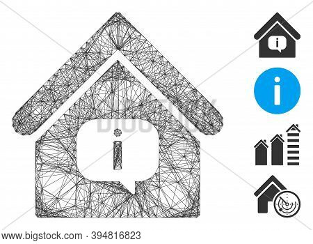 Vector Net Hint Building. Geometric Hatched Carcass Flat Net Made From Hint Building Icon, Designed