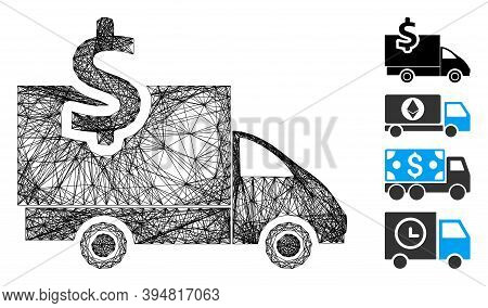 Vector Network Transportation Costs. Geometric Wire Frame 2d Network Generated With Transportation C