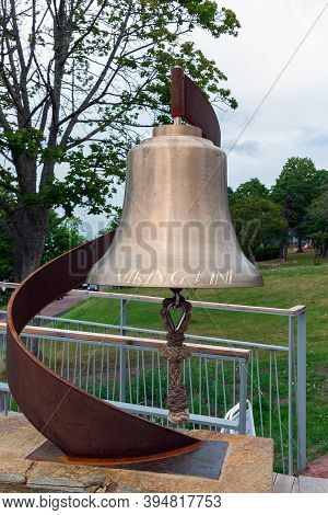 Finland, Aland Islands, Marienhamn, August 2019: A Bell With The Inscription Viking Line, Located At