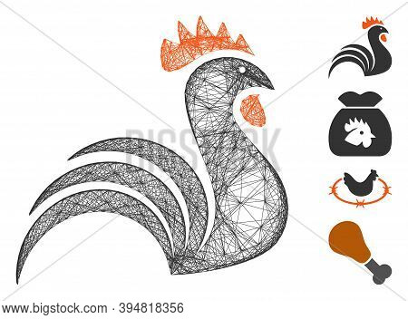Vector Wire Frame Rooster. Geometric Linear Frame 2d Network Generated With Rooster Icon, Designed W