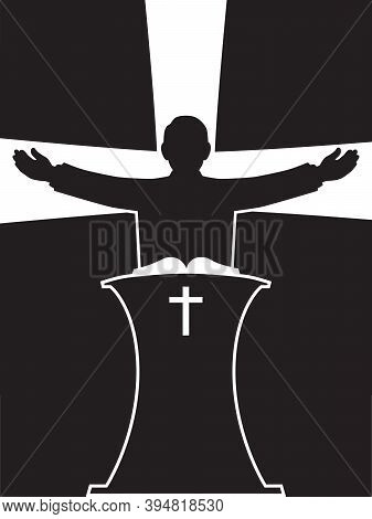 A Preacher Is Standing At His Pulpit With His Arms Spread