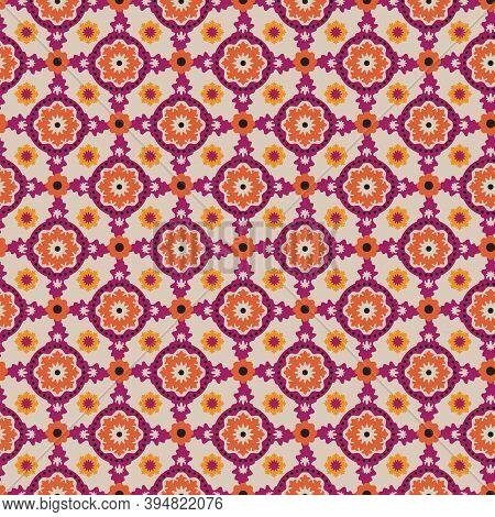 Allover Foulard Orange Burgundy Floral Polka Dots