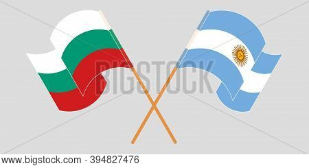 Crossed And Waving Flags Of Bulgaria And Argentina. Vector Illustration