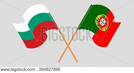 Crossed And Waving Flags Of Bulgaria And Portugal. Vector Illustration