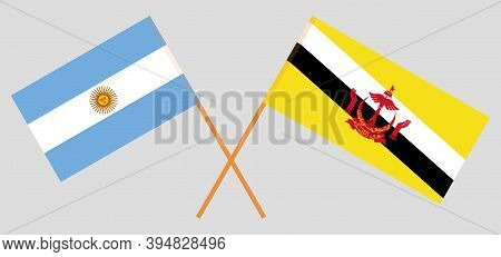 Crossed Flags Of Brunei And Argentina. Official Colors. Correct Proportion. Vector Illustration