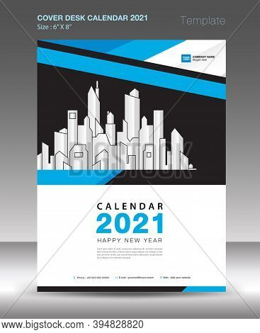 Cover design for Calendar 2021, Desk Calendar 2021 cover template, Wall calendar 2021 cover, Blue background concept, annual report, book cover, brochure flyer, magazine, advertisement, vector illustration