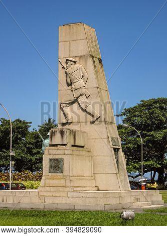 Rio De Janeiro Brazil - December 24, 2008: War Memorial Monument At Pao De Acucar Lands End Under Su