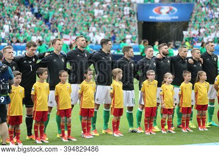 Lyon, France - June 16, 2016: Players Of Northern Ireland National Football Team Listen To National