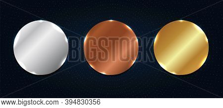Set Of Abstract Copper, Silver, Gold Shiny Metallic Circle Label Or Badges With Particles Elements O
