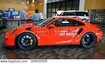 Wilmington, Delaware, U.s.a - October 6, 2019 - A Bright Red Of 2019 Porsche 911 Gt3 Rs Coupe Sports
