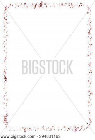 Red Flying Musical Notes Isolated On White Backdrop. Pink Musical Notation Symphony Signs, Notes For