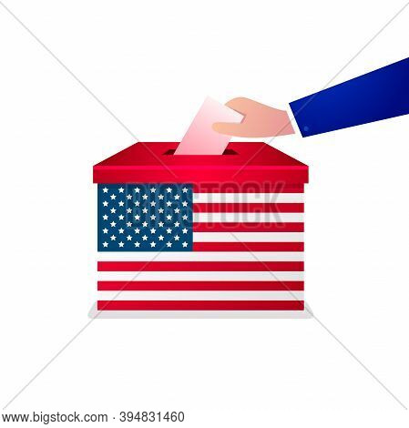 Voter Hand Putting Voting Paper Into Ballot Box. Usa Election Concept. Presidential Election Day.