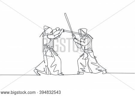 One Continuous Line Drawing Of Two Young Sporty Men Training Kendo Fighting Skill With Sparring In D