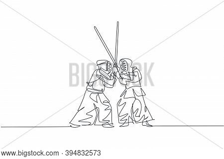 One Single Line Drawing Of Two Young Energetic Man Exercise Sparring Fight Kendo With Wooden Sword A