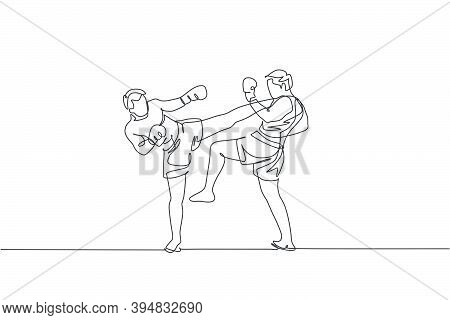 One Continuous Line Drawing Of Two Young Sporty Men Kickboxer Athlete Exercise For Sparring Fight At
