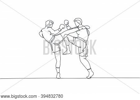 Single Continuous Line Drawing Of Two Young Sportive Men Train Fight Sparring Thai Boxing At Gym Cen