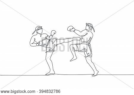 One Continuous Line Drawing Of Two Young Sporty Muay Thai Boxer Men Kicking Hard Sparring Fight Part
