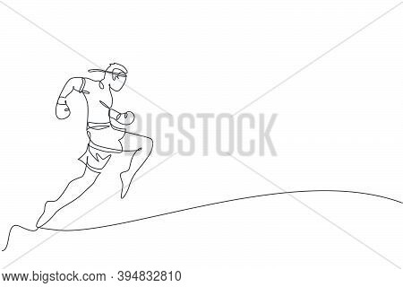 One Continuous Line Drawing Of Young Sporty Muay Thai Boxer Man Practicing Knee Kick And Flying Kick