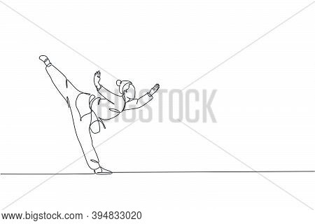 One Single Line Drawing Of Young Woman On Kimono Exercise Wushu And Kung Fu Stance Balance Technique