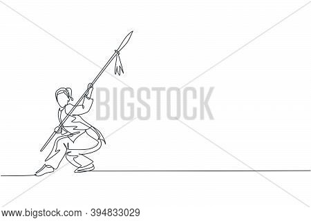 Single Continuous Line Drawing Of Young Woman Wushu Fighter, Kung Fu Master In Uniform Training With