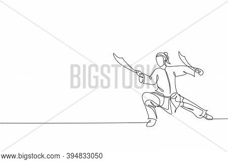 One Single Line Drawing Of Young Woman On Kimono Exercise Wushu Martial Art, Kung Fu Technique With