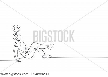 One Single Line Drawing Of Young Happy Man Perform Soccer Freestyle, Juggling With Head At The City