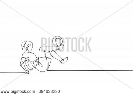 Single Continuous Line Drawing Of Young Sportive Woman Train Soccer Freestyle, Juggling With Shinbon